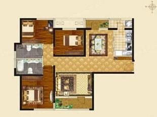 国龙绿城怡园140平方三室两厅欧式风格装修效果图 户型图,140平,10万,欧式,三居,