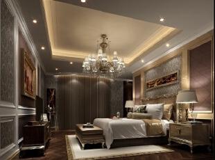 ,320平,180万,欧式,别墅,卧室,浅棕色,白色,