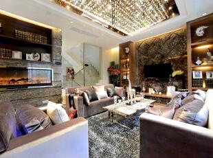 ,300平,60万,现代,一居,客厅,褐色,淡黄色,