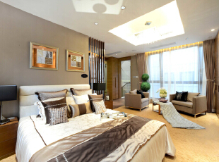 ,300平,60万,现代,一居,卧室,咖啡色,白色,