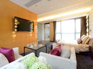 ,300平,60万,现代,一居,客厅,橙色,白色,