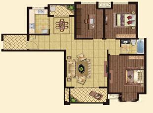 怡丰森林湖105平三室两厅现代简约案例装修效果图——平面布局图,105平,14万,简约,三居,