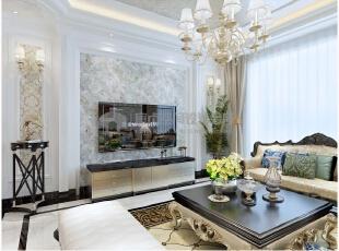 软装的搭配让整个空间的色彩更加的丰富,给人的视觉感更加强烈!,136平,10万,欧式,三居,客厅,黑白,
