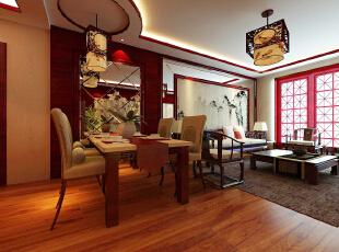 写点介绍吧,图文并茂的内容更受谷粒们喜欢哦~,128平,12万,中式,三居,餐厅,原木色,