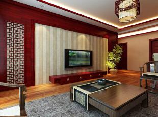 ,128平,12万,中式,三居,客厅,原木色,白色,