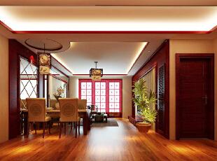 ,128平,12万,中式,三居,餐厅,原木色,