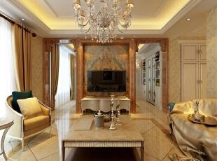 客厅:把客厅与餐厅之间用造型垭口做分隔,这样从视觉上显得大气,而且为本户型规划处独立餐厅,沙发的后面采用了深色壁纸,看起来更大气,有张力,电视墙以暖色石材为主,同样呼应了整体豪华大气的效果。,欧式,客厅,黄白,