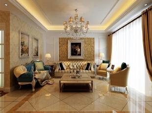 客厅:把客厅与餐厅之间用造型垭口做分隔,这样从视觉上显得大气,而且为本户型规划处独立餐厅,沙发的后面采用了深色壁纸,看起来更大气,有张力,电视墙以暖色石材为主,同样呼应了整体豪华大气的效果。,210平,欧式,客厅,别墅,客厅,黄白,