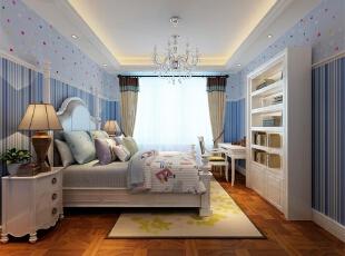次卧室为男孩房,墙面采用蓝色竖条壁纸显得活泼可爱。,欧式,四居,别墅装修,蓝色,