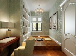 书房:采用书房与客房相结合的家具摆放,比较实用一举两得。,欧式,书房,别墅装修,浅绿色,白色,
