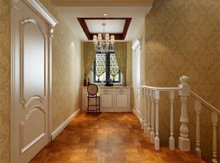 通过过道吊顶和柜子的设计既增加了储物功能,又增加了设计的整体性!,欧式,四居,楼梯间,吊顶,黄白,