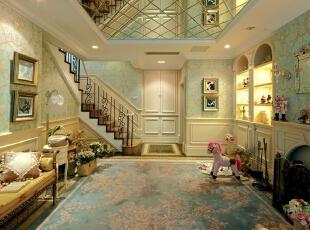 ,欧式,别墅,客厅,黄白,浅绿色,