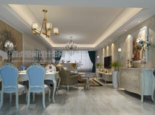 客餐厅效果,用墙纸作为背景是简欧风格的最只要特色,121平,8万,欧式,三居,