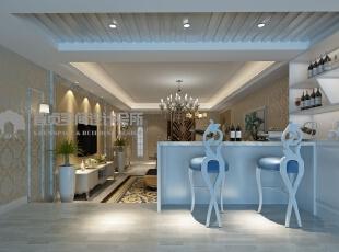 休闲区效果图,独立设计的吧台与酒柜是简欧风格的特色,121平,8万,欧式,三居,