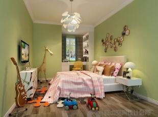 【儿童房】儿童房效果图,在原材料的上的简化,但在色彩上追求跳跃!!,180平,15万,混搭,四居,儿童房,绿色,