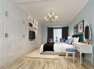 【卧室】卧室效果图,含蓄的设计往往能达到以少胜多,以简胜多的效果!,180平,15万,混搭,四居,卧室,蓝色,小资,简约,现代,