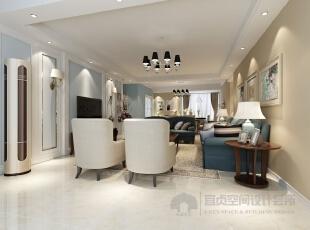 客厅效果图,客厅是主人品位的象征,以蓝色为主色调,使得空间更加庄严,大方!!,179平,15万,混搭,四居,