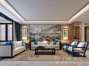 银基王朝220平装修五室两厅新中式样板间效果图案例——沙发背景墙,客厅效果图、沙发背景墙。地面有纯色的地砖作为大面积平铺,在客厅、餐厅、门厅、走道都有划分。天花采用无主灯设计,在人工照明的布局上更加人性化,依靠间接的光线,让后现代中式体现的更加自然。,220平,20万,中式,大户型,银基王朝装修,美巢装饰,装修装饰,装修优惠,装修团装,