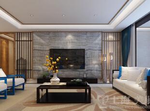 银基王朝220平装修五室两厅新中式样板间效果图案例——电视背景墙,客厅正面、电视背景墙,采用柚木线条把墙面分区,重点装饰部位采用浮世绘整版壁布,其他墙面采用草编壁纸。形成呼应。蓝色软装的加入,让整个版式的空间里灵动了些许,220平,20万,中式,大户型,银基王朝装修,美巢装饰,装修装饰,装修优惠,装修团装,
