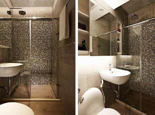 卫生间内以淋浴房的玻璃移门来分隔空间,马赛克的墙面让这间淋浴房看起来极具时尚感,洗漱区的方形大镜面也让整个空间在视觉上有了扩容感。,60平,5万,混搭,小户型,