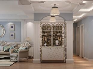 ,168平,15万,欧式,三居,客厅,餐厅,玄关,蓝色,白色,原木色,