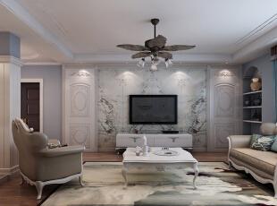 ,168平,15万,欧式,三居,客厅,白色,原木色,蓝色,