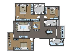 平面是经过改造之后的,将主卧室门与次卧室门调齐,将主卧室衣帽间改成客厅的一个休闲区,增大客餐厅视觉面积,还给本应该属于大平层该有的视觉感,使整个空间更气派,厨房门改造成单开门,留出冰箱的位置,也让餐厅更整齐美观。,168平,15万,欧式,三居,