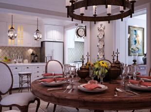 ,450平,50万,美式,别墅,餐厅,白色,原木色,