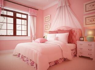 ,450平,50万,美式,别墅,卧室,粉红色,