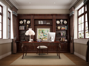 ,450平,50万,美式,别墅,书房,原木色,