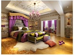 业主偏爱鲜艳的颜色,因而在主卧空间内多处使用了大胆的跳色,形成了较为强烈的视觉冲击力和层次感;同时相同或相似的材质与周边奢华的玻璃、此状相互辉映,不会产生突兀的违和感,更显多彩。,400平,80万,混搭,别墅,卧室,紫色,黄白,棕色,
