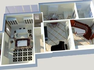 一层的整体为浅色调,为了业主偏好,设计师在窗帘、地毯、家具等细节上增加了较多的色彩和造型,同时将入户门进行改造与楼梯同步,创造出神秘优雅的生活氛围。,400平,80万,混搭,别墅,