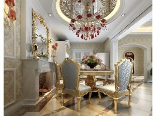 设计师在餐厅空间的处理上增加了细节的呼应和联动。充斥视觉空间的大马士革风格壁纸、部分顶灯的银镜背景,无一不彰显了家居风格的一脉相承和完整性。置身其中,仿佛每个瞬间都在品读着一个章节,别墅配饰排列交错,便是一部传世佳作。,400平,80万,混搭,别墅,餐厅,黄白,