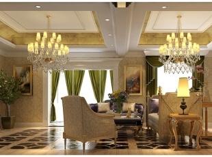 一楼客厅是一个知性优雅的空间,绿色窗帘、塞满书籍的书柜、黑色的地砖拼花和流畅的家具线条,矛盾而又合理有序的充斥在客厅之中,地毯、沙发、座椅的暗纹搭配,显示出设计师非凡的别墅设计功底。,400平,80万,混搭,别墅,客厅,黄白,