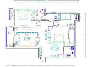 升龙城AI户型136平三室两厅地中海风格装修户型图,136平,15万,地中海,三居,