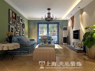 升龙城136平三室两厅地中海风格装修效果图--客厅,136平,15万,地中海,三居,客厅,白蓝,绿色,