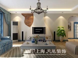 郑州升龙城136平三室两厅地中海风格样板间装修效果图--电视背景墙,136平,15万,地中海,三居,客厅,白蓝,绿色,