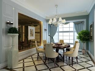,346平,200万,混搭,别墅,餐厅,白蓝,