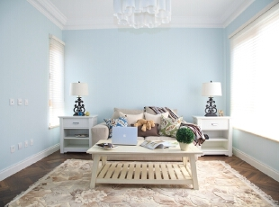 ,346平,200万,混搭,别墅,客厅,白蓝,