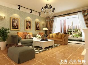 瀚宇天悦142平四室两厅美式乡村风格装修效果图-客厅效果图,142平,5万,美式,四居,客厅,黄白,浅绿色,