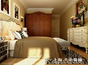 瀚宇天悦142平四室两厅美式乡村风格装修案例-卧室效果图,142平,5万,美式,四居,卧室,黄白,