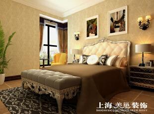 瀚宇天悦142平四室两厅美式乡村风格装修效果图-卧室效果图,142平,5万,美式,四居,卧室,黄白,