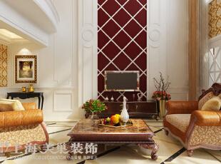 皇家花园500平别墅简欧风格装修效果图——客厅装修效果图,500平,15万,现代,别墅,客厅,红色,黄白,