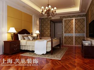 皇家花园500平别墅简欧风格装修样板间——卧室装修效果图,500平,15万,现代,别墅,卧室,棕色,黄白,