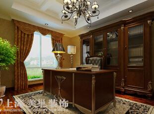 皇家花园500平别墅简欧风格装修方案——书房装修效果图,500平,15万,现代,别墅,书房,原木色,