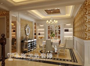 皇家花园500平别墅简欧风格装修效果图——餐厅装修效果图,500平,15万,现代,别墅,餐厅,黄白,