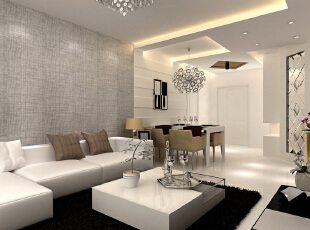 惊喜不断&潜力无限 整面麻质墙纸拥有与生俱来的清新质朴,和沙发上的棉麻抱枕相互呼应,冲淡了黑白统治空间的肃穆,散发出沉稳、内敛的魅力。现代感居室更需要这样的自然元素来调和气场,但除此之外,设计师将现代风格贯彻到底:散落于各个角落的金色和银色元素提亮了整个空间;,105平,9万,现代,两居,客厅,灰色,黄白,
