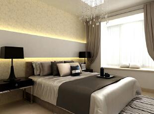 香槟色的醉梦空间 卧室呈现出高贵清冷的气质,冷色调的运用在这里表现出轻松、休闲的气氛。飘窗的白色纱幔让更多日光穿透进来,高雅的香槟色床品辉映着璀璨夺目的水晶吊灯,给人无懈可击的视觉享受,昏黄的条型行壁灯切割出卧室的黄金比例,搭配淡黄色的花纹壁纸,雅致温馨毕露无疑,105平,9万,现代,两居,卧室,黄白,