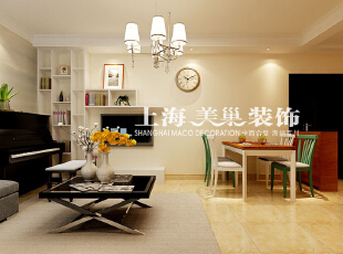 正商恒钻80平两室两厅简欧风格装修案例-客餐厅,80平,3万,欧式,两居,客厅,餐厅,黄白,