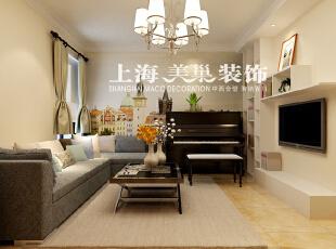 正商恒钻80平两室两厅简欧风格装修样板间,80平,3万,欧式,两居,客厅,黄白,